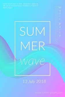 Creative summer wave poster with shape retro abstract colorful geometric background design for card ...