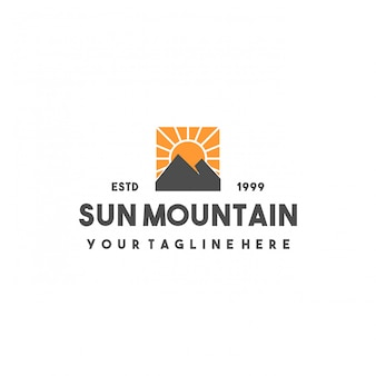 Creative sun mountain logo design