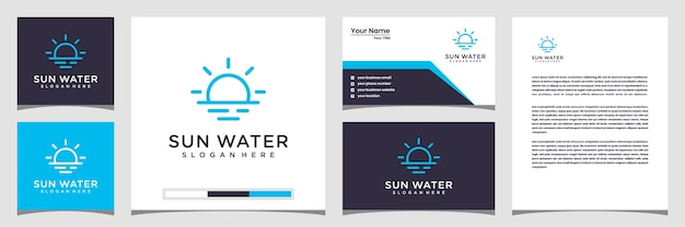 Creative sun water logo concept. with line art style logo business card and letterhead