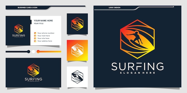 Creative surfing logo and business card design template premium vekto