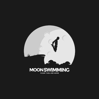 Креативный плавательный дизайн концепции логотипа