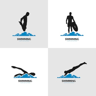Креативные логотипы концепций дизайна плавания
