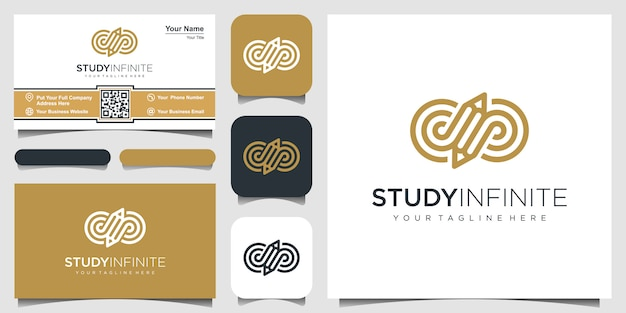 Творческий символ бесконечности с карандашом концепции логотипа вдохновения. и дизайн визитной карточки