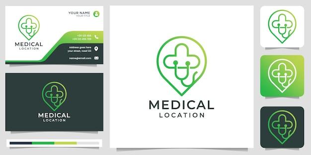 Медицинский логотип creative symbol с маркером местоположения, логотипом в стиле арт и дизайном визитной карточки premium векторы