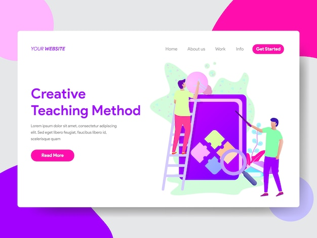 Creative teaching method illustration for web pages