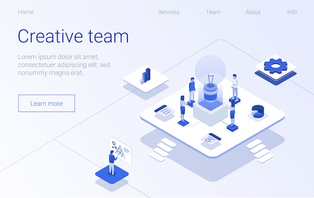 Creative team banner business process homepage