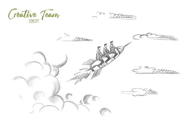 Creative team concept. hand drawn people flying on rocket. startup concept, creative team work isolated illustration.