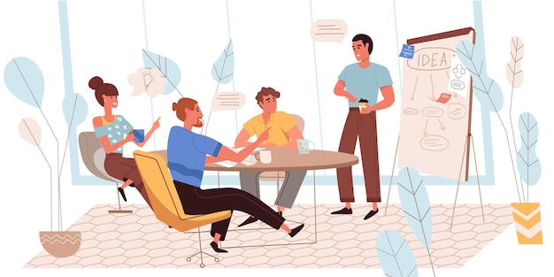 フラットなデザインのクリエイティブチームのコンセプト。会議室での会議での同僚は、新しいアイデアを生み出し、プロジェクトについて話し合い、ブレインストーミングを行い、ビジネス戦略を作成します。チームワークの人々のシーン。ベクトルイラスト