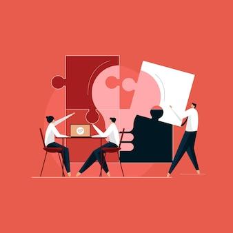 위대하고 혁신적인 비즈니스 솔루션을 찾는 크리에이티브 팀