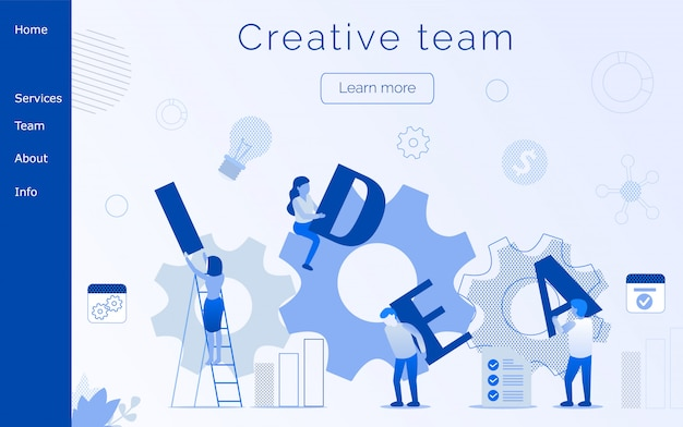 Creative team modern editable text landing page