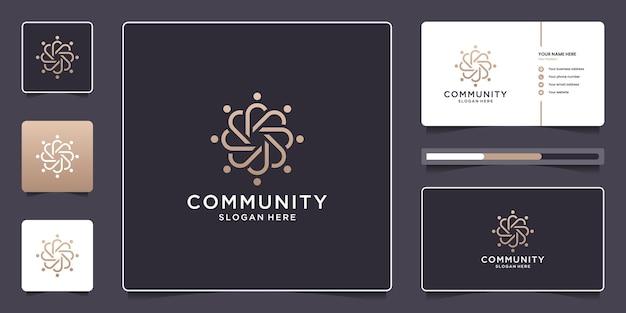 창의적인 팀은 추상적인 사람들 그룹 로고 디자인 및 명함 템플릿을 사용하여 작업합니다.