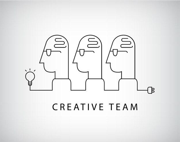 Творческий коллектив, логотип рабочей группы, линейный.