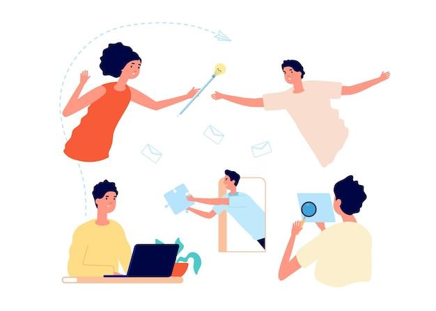 Творческий коллектив работает. люди думают, идеи находят и воплощают в жизнь. мозговой штурм, офис-менеджеры женщина мужчина, ежедневный рабочий процесс векторные иллюстрации. команда идей, партнерство деловых людей