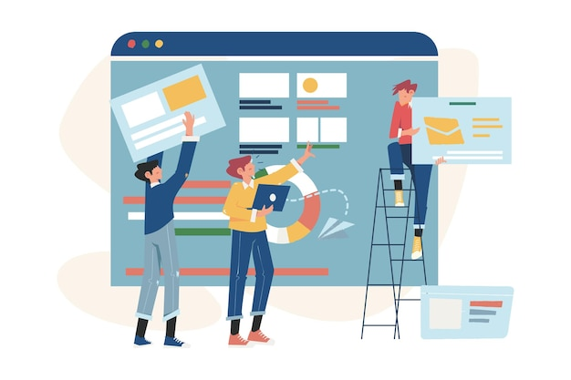 インターネット上でビジネスプロジェクトを構築する創造的なチームワーク