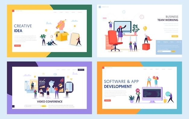 창의적인 팀워크 개념 설정 방문 페이지. 화상 회의 회의에서 사람들 캐릭터. 새로운 아이디어 웹 사이트 또는 웹 페이지를 위해 협력하십시오. 자바 소프트웨어 지원 플랫 만화 벡터 일러스트 레이션