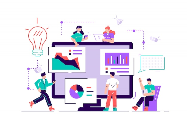 Творческая командная работа. люди строят бизнес-проект в интернете. экран монитора - это строительная площадка.