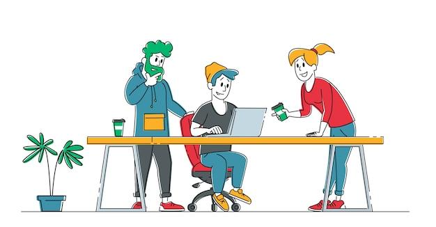 オフィスコンセプトの創造的なチームワークプロセス