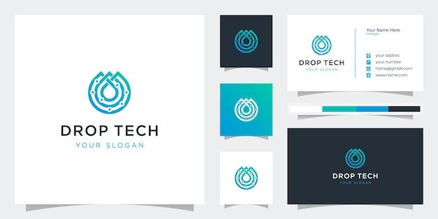 Креативный технический стиль капли с логотипами штриховой графики и шаблонами визиток