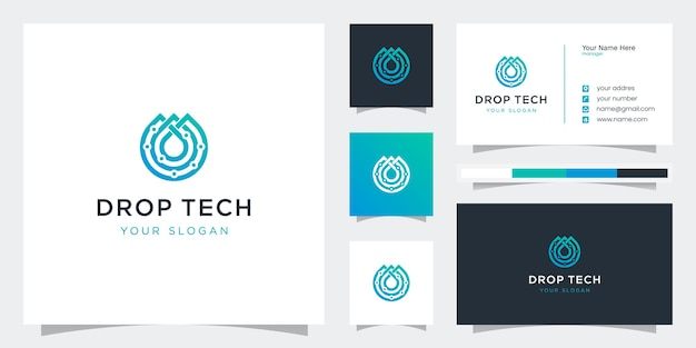 Creative tech drop style with line art logos and business card templates