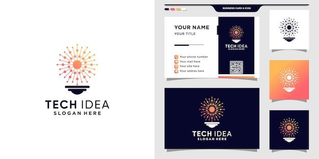 점 및 선 아트 스타일이 있는 창의적인 기술 아이디어 로고. 기술 및 명함 디자인을 위한 로고 아이콘입니다. 프리미엄 벡터
