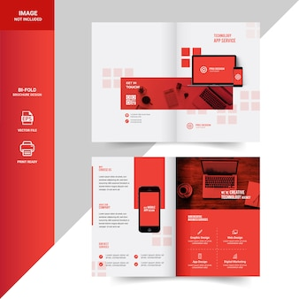 Creative technology bi-fold brochure template design