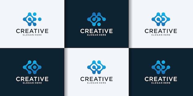 Креативная технологическая буква c коллекция дизайна логотипа