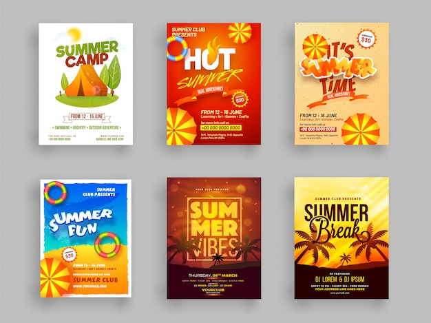 Creative template or flyer set of summer camp