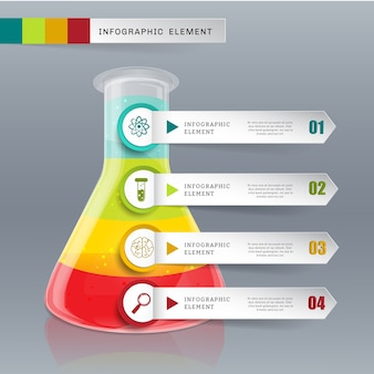 Creative template tube glass for infographic vector 4 options