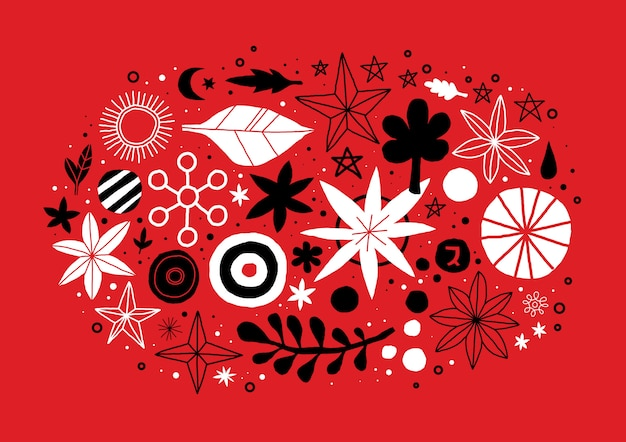Creative template with flowers and abstract hand drawn elements