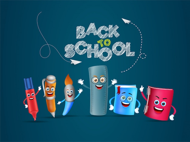 Creative text back to school with cartoon character of school