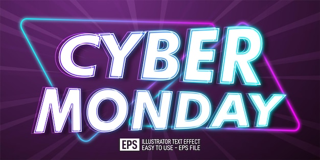 Creative text cyber monday editable style effect template