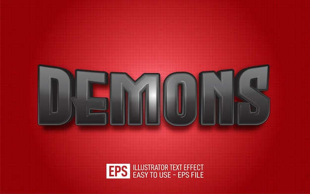 Creative text demons, editable style effect template