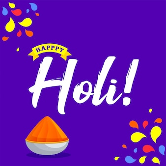 Creative text happy holi on purple background for indian festiva