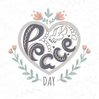 Creative text peace day with line art dove on heart shape background decorated floral.