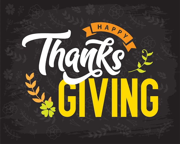 Creative thanksgiving typography for holiday greeting gift card