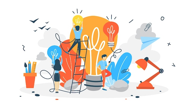 創造的な思考とブレーンストーミングの図