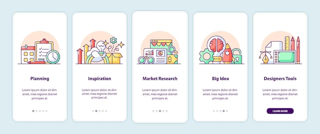 Creative thinking app screen pages. smartphone application walkthrough with cartoon illustrations. mobile ui template with 5 steps. user interface design with simple purple color concepts