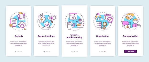 Типы креативного мышления на экране страницы мобильного приложения с концепциями