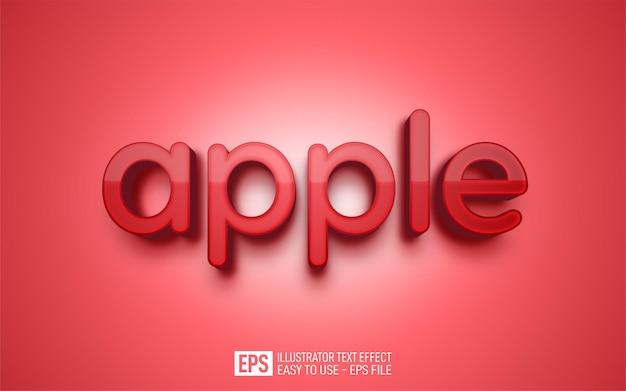 Creative three dimension text apple, editable style effect template