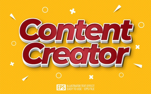 Creative three dimension text content creator editable style effect template