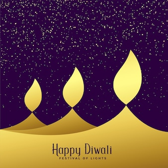 Creative three diwali golden diya background