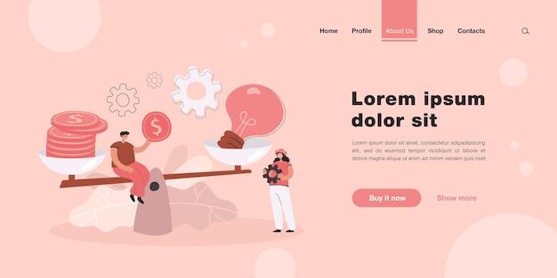 저울 방문 페이지 템플릿으로 아이디어에 가격을 제시하는 창의적인 작은 사람들