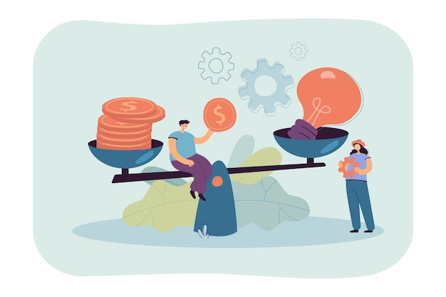 Creative tiny people giving price for idea with scales flat illustration.