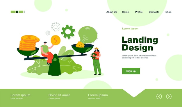 Creative tiny people giving price for idea with scales landing page in flat style