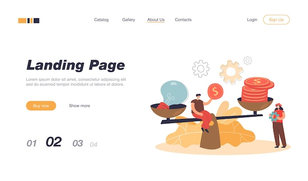 Creative tiny people giving price for idea with scales landing page template