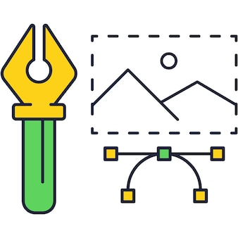クリエイティブツールのアイコンラインデザイン。 webアートベクトル。アートワークポートフォリオ芸術プロジェクト、ウェブサイトクリエイティブスタジオ、イラストレータープログラムのアウトラインロゴ