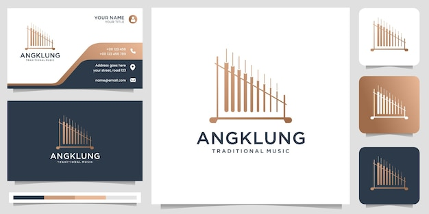 創造的な伝統的な楽器音楽インドネシアのロゴデザインロゴと名刺テンプレートプレミアムベクトル