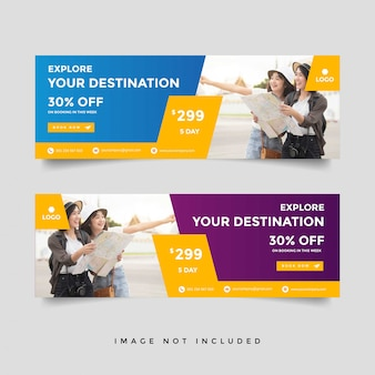 Creative travel banner template collection