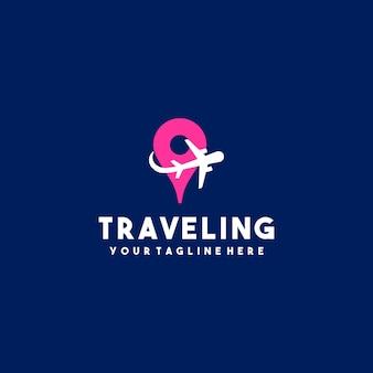 クリエイティブな旅の飛行機のロゴ