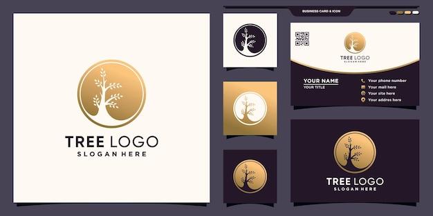 ユニークなネガティブスペースのコンセプトと名刺デザインプレミアムベクトルとクリエイティブツリーサークルロゴ